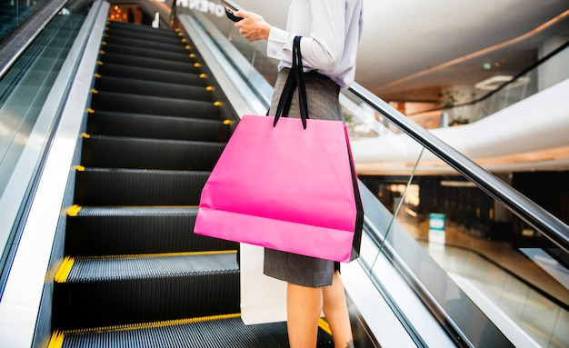 Woman enjoy shopping concept Premium Photo