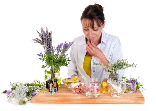Woman and essential oils Premium Photo