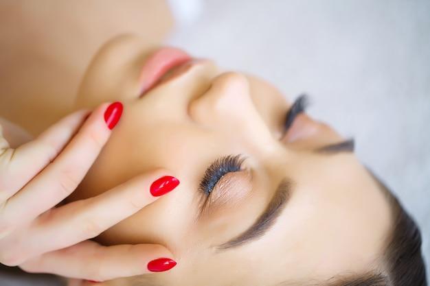 Woman eye with long eyelashes. Premium Photo