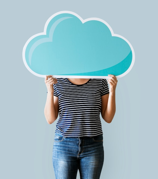 Woman face covered with cloud network Free Photo