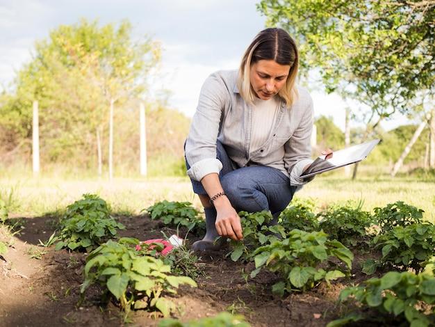 Woman farmer checking her garden Free Photo