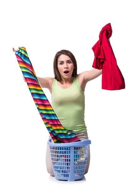 Woman feeling sressed after doing dirty laundry Premium Photo