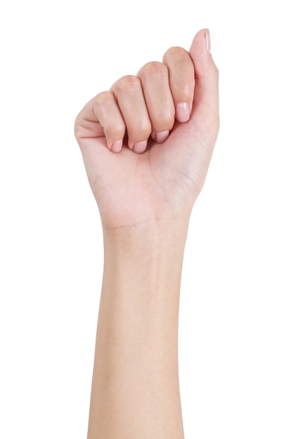 Woman fist hand gesture front side isolated on white Premium Photo