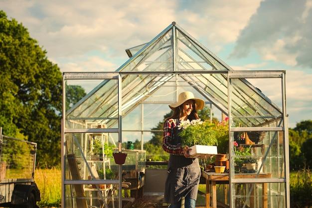 Woman gardening in a greenhouse Premium Photo