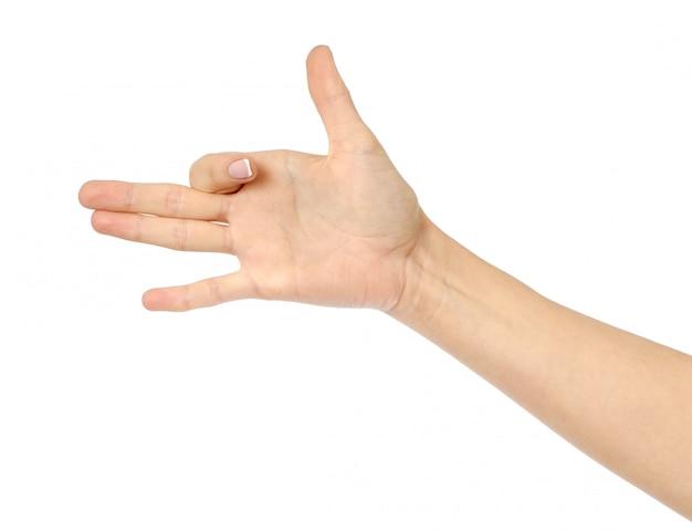 Woman hand gesturing like dog head Premium Photo