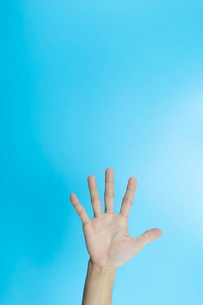 女性の手はcopyspaceで青い表面に5本の指を表示します。 Premium写真