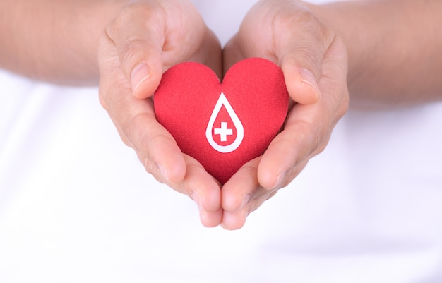 Woman hands holding red heart with paper sign on red heart for blood donation concept. Premium Photo