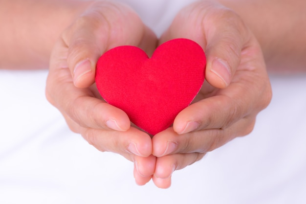 Woman hands holding red heart for world heart day or world health day concept. Premium Photo