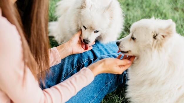 かわいい犬と遊んで幸せな女性 無料写真