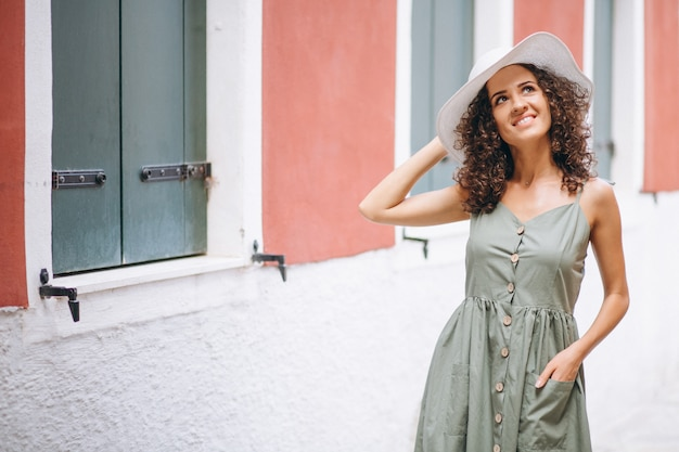 Woman happy on vacation in venice Free Photo