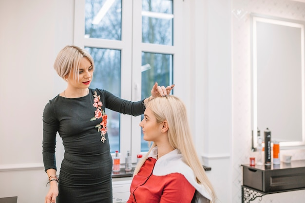 Woman having consultation with hairdresser Photo | Free Download