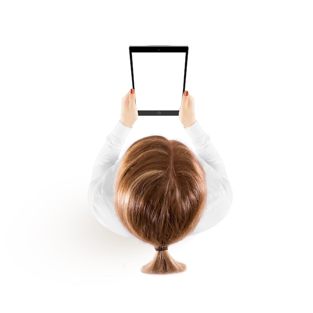 Woman hold tablet pc mockup in hand top view Premium Photo