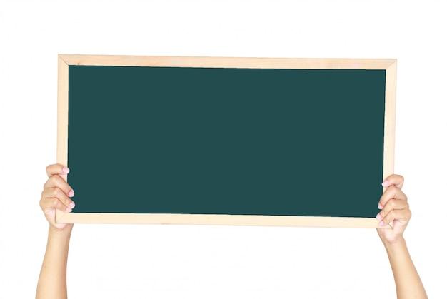 Woman holding a blank blackboard isolated Premium Photo