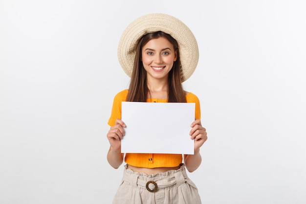 woman holding blank card isolated on white smiling female
