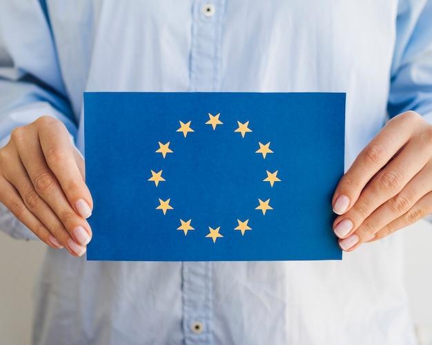 Woman holding european union envelope Free Photo