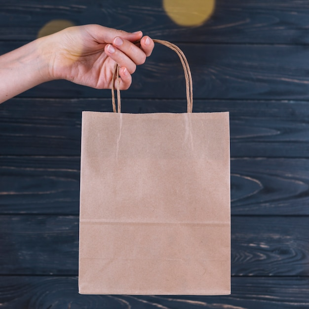 Woman holding gift bag in hand Free Photo