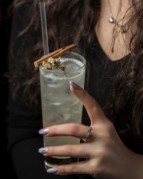 Woman holding glass of drink garnished with dried flower and cinnamon stick Free Photo