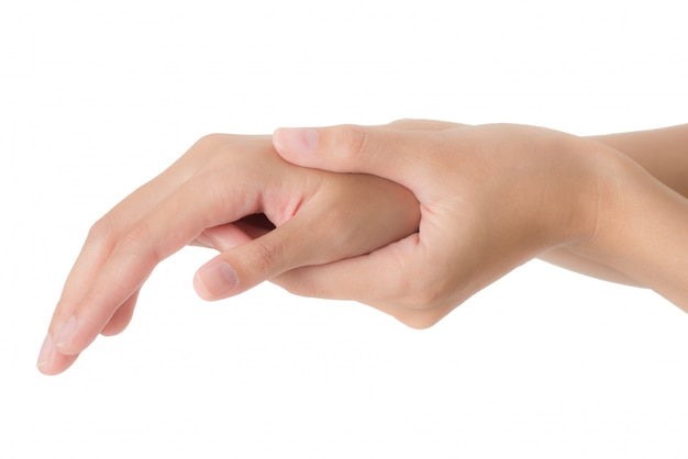 Woman holding her wrist and massaging in pain area isolated on white background Premium Photo