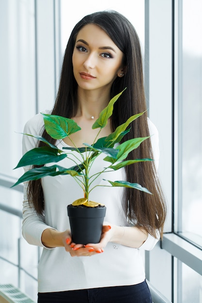 Woman holding, house plant with coins of bitcoin on the ground Premium Photo