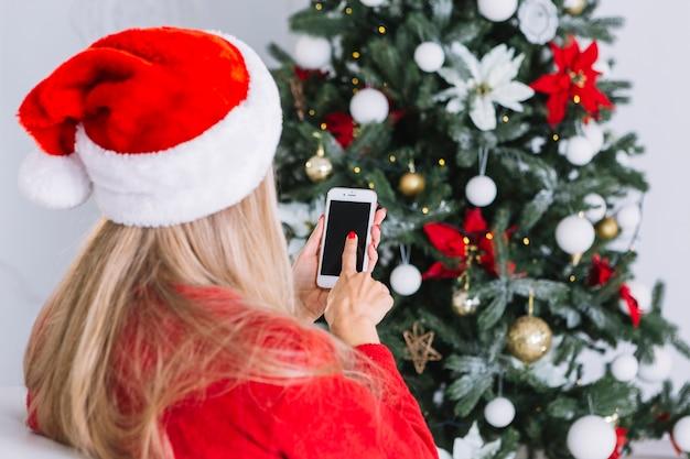 女性、電話、サンタ、帽子 無料写真