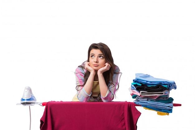Woman ironing clothing isolated on white Premium Photo