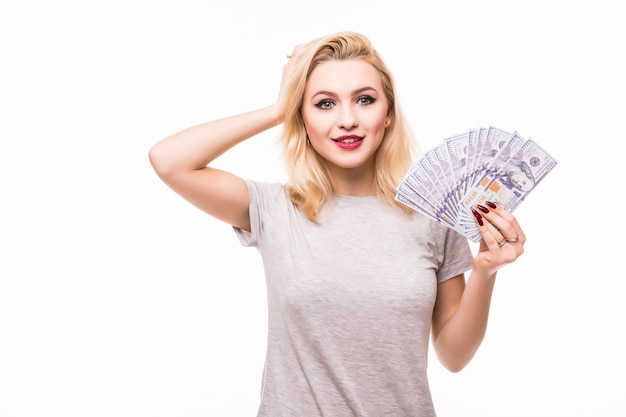 Woman is happy to win lot of money in accidental lottery Free Photo