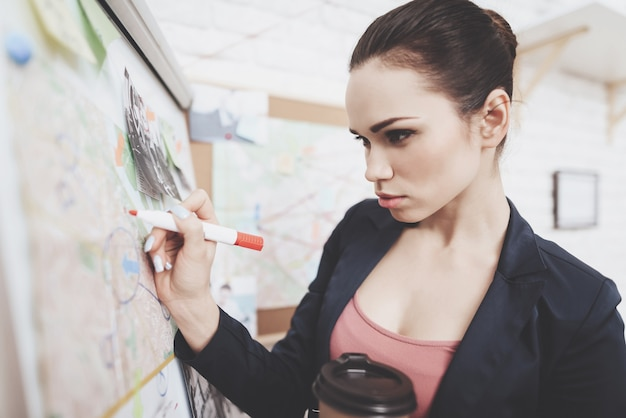 Woman in jacket is putting photos marks with marker on map. Premium Photo