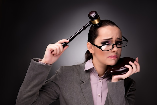 Woman judge with gavel in justice concept Premium Photo