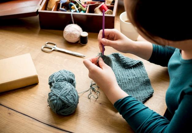 Woman knitting handicraft hobby homemade Free Photo