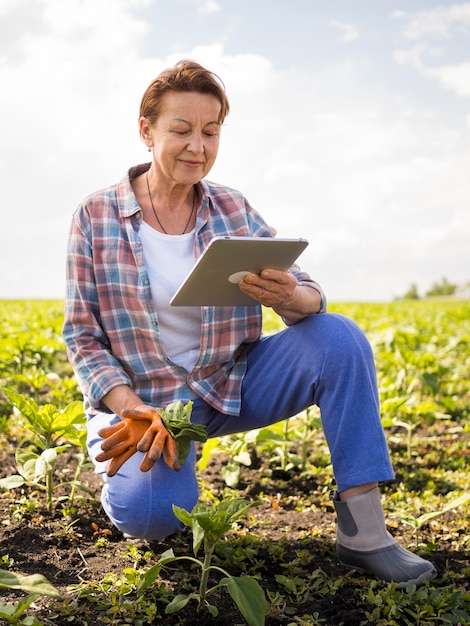 Woman looking at her tablet while holding some carrots Free Photo