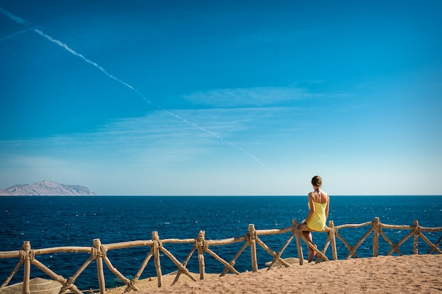 Woman looks at the sea and the island of tiran, egypt Premium Photo