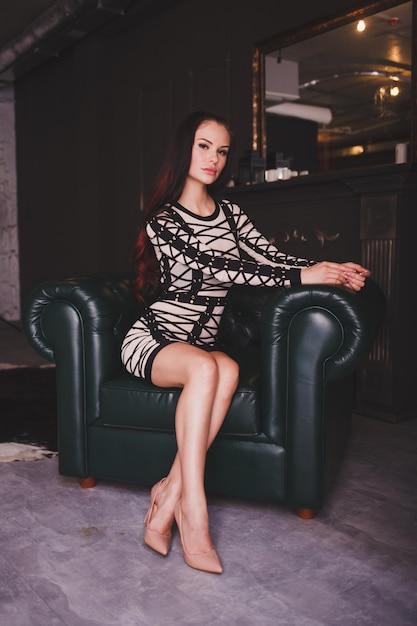 Woman in luxury home interior Premium Photo
