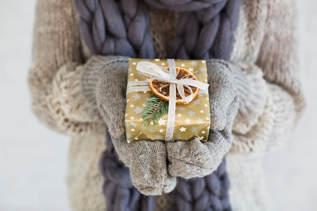 Woman in mitts and scarf with present box in hands Free Photo