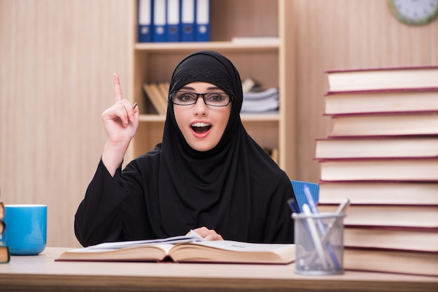Woman muslim student preparing for exams Premium Photo
