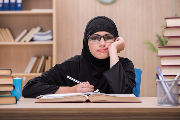 Woman muslim student preparing for exams Premium Photo