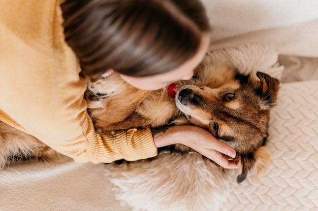 愛らしい犬をかわいがる女 無料写真