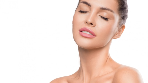 Woman portrait with closed eyes  beauty and skin care concept Premium Photo