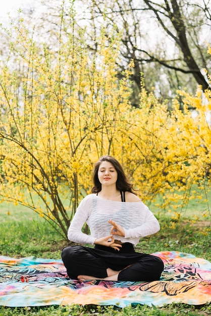 Woman practicing meditation with gyan mudra gesture in nature Free Photo