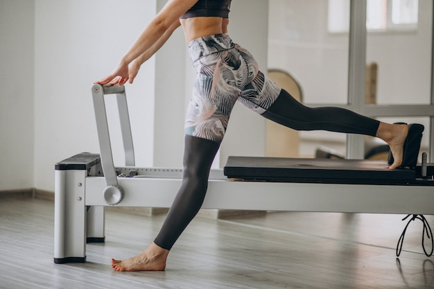 Woman practising pilates in a pilates reformer legs close up Free Photo