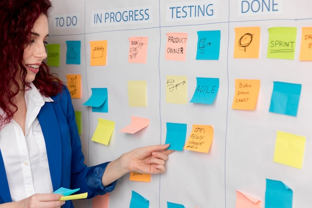 Woman presenting business plan Free Photo
