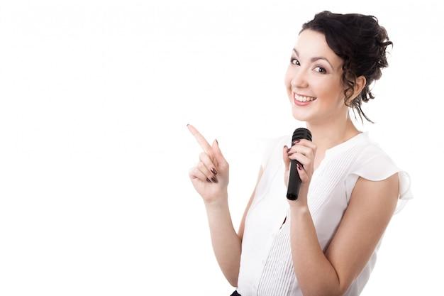 Woman presenting news Free Photo
