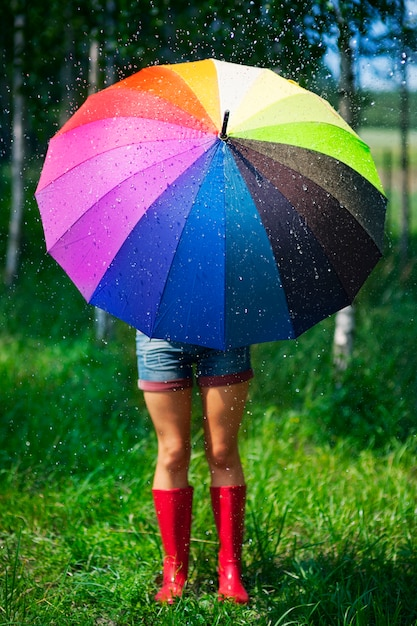 Woman protecting herself from the rain Free Photo