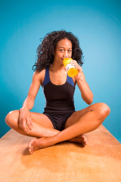 Woman quenching thirst Premium Photo