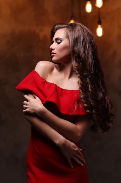 Woman in red dress Free Photo