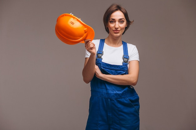 Woman repairer with painting roller isolated Free Photo