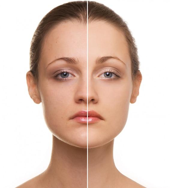 Woman's face correction Premium Photo
