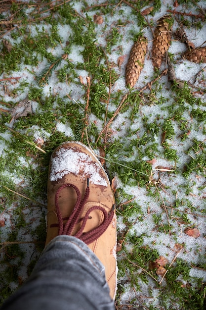 Woman's foot in travel boots on a mossy snowy ground in winter forest. travel concept. Premium Photo