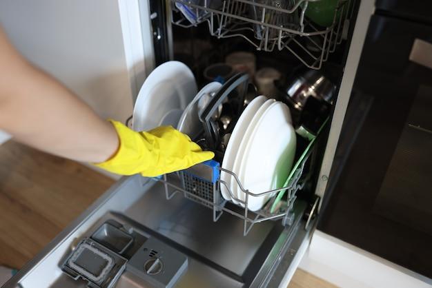 ゴム手袋をはめた女性の手が皿を食器洗い機に入れる Premium写真