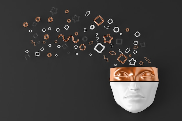 Woman's head on the wall with exploding geometric shapes flying in different directions. 3d illustration Premium Photo