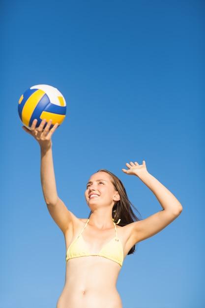 Woman serve at a volley ball match Premium Photo